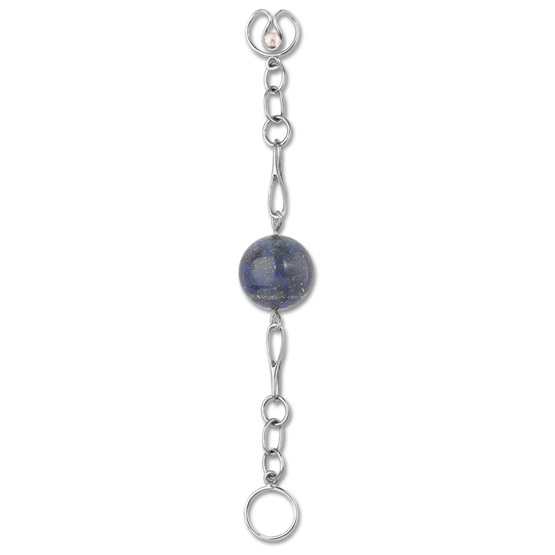 Long Lapis Lazuli Bead Expression, silver