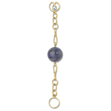 Long Lapis Lazuli Bead Expression, 9ct gold plate