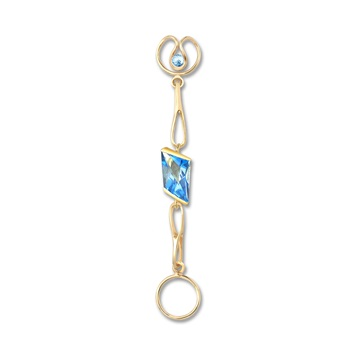 Short Blue Topaz Expression, 9ct gold plate