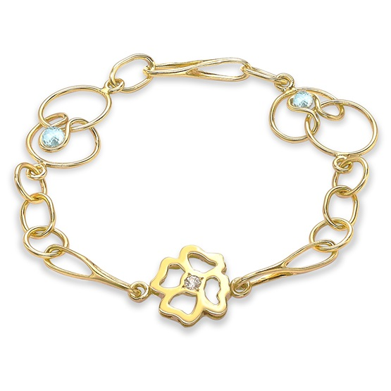 Long Clover Expression Bracelet, 9ct gold plate