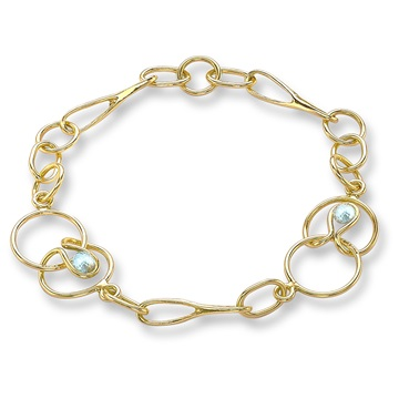 Long and Short Link Bracelet, 9ct gold plate