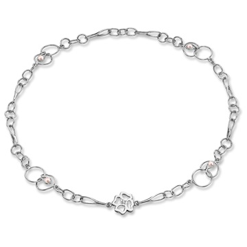 Clover Long Link Necklace, silver