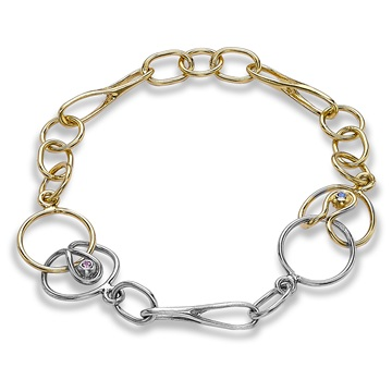 Long and Short Link Bracelet, 18ct golds