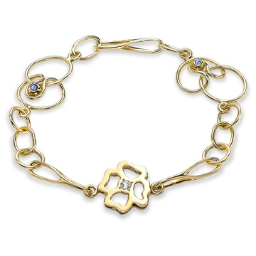 Clover Short Link Bracelet, 18ct yellow gold