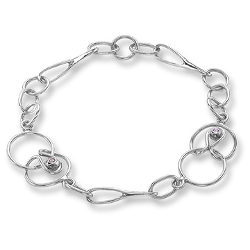 Long and Short Link Bracelet, 18ct white gold