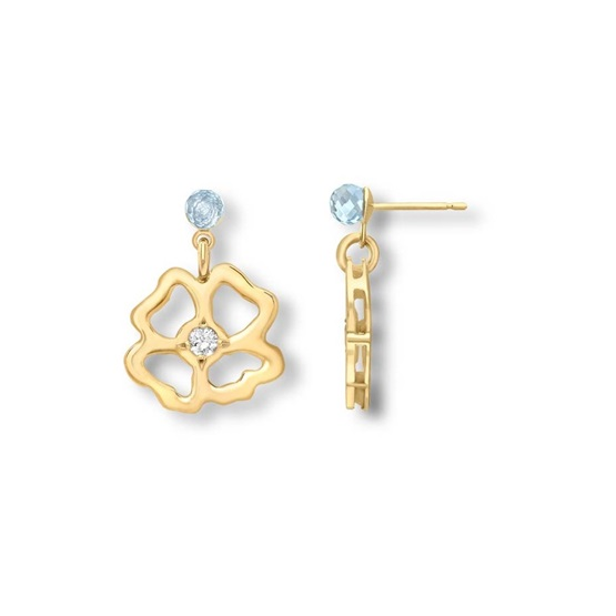 Clover Infinity Short Drop Earrings 9ct gold plate