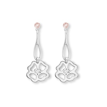 Clover Infinity Long Drop Earrings silver