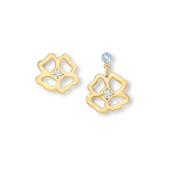 Clover  Stud and Short Drop asymmetrical Earrings 9ct gold plate