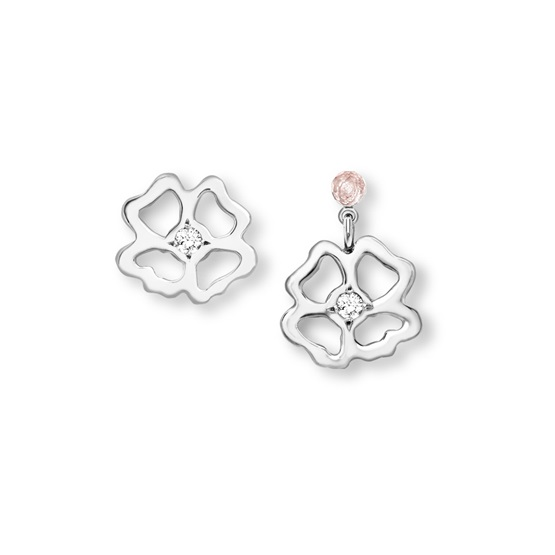 Clover Infinity asymmetrical Stud and Short Drop Earrings silver