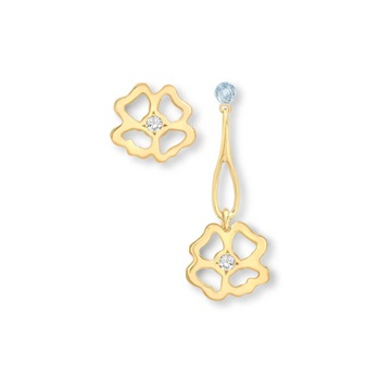 Clover  Stud and Long Drop asymmetrical Earrings 9ct gold plate