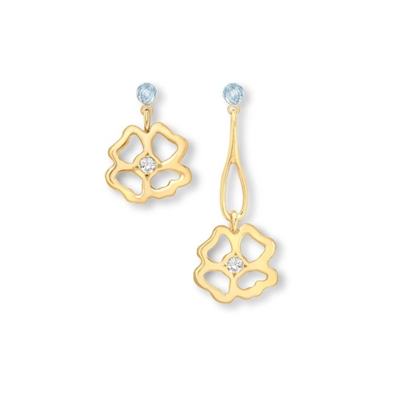 Clover Short and Long Drop asymmetrical Earrings 9ct gold plate
