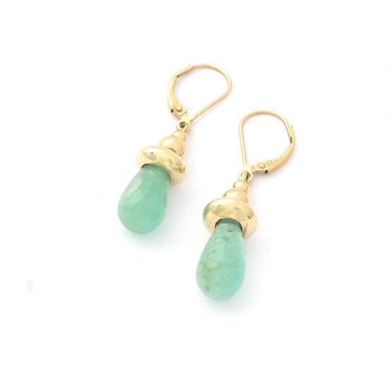 Emerald Drop Earrings-pierced Ears
