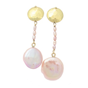 18ct Yellow Gold Squab Pearl Asymmetric Earrings