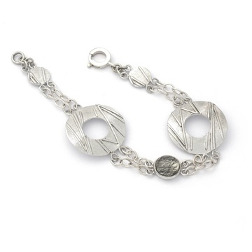 Tourmalinated Quartz Silver Bracelet