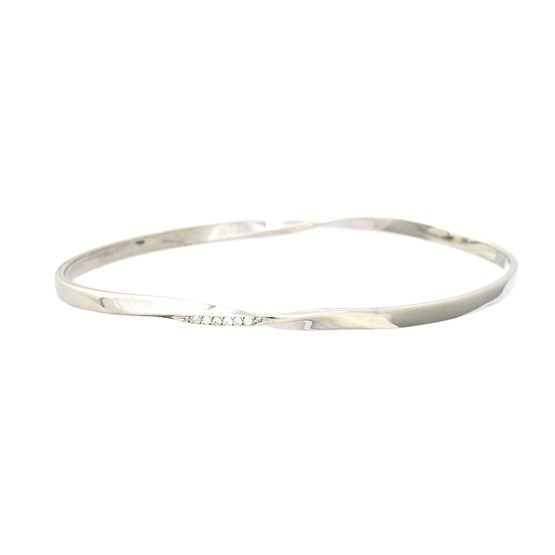Twisted Diamond edged Silver Bangle