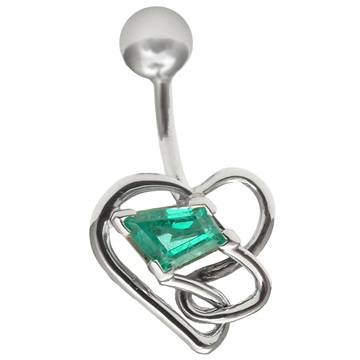 Emerald belly button ring