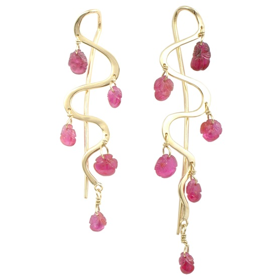 Carved ruby earrings