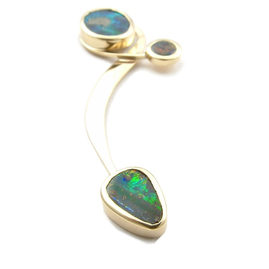 Asymmetric opal earrings