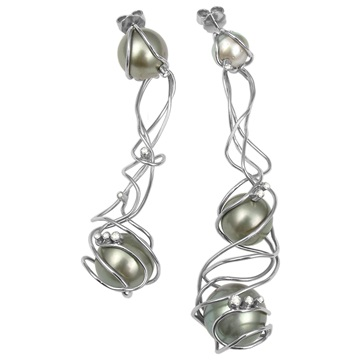 Pearl, diamond earrings