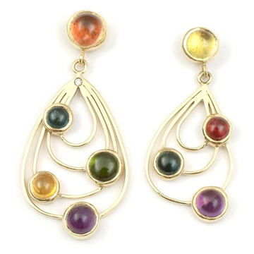 Gold, tourmaline earrings