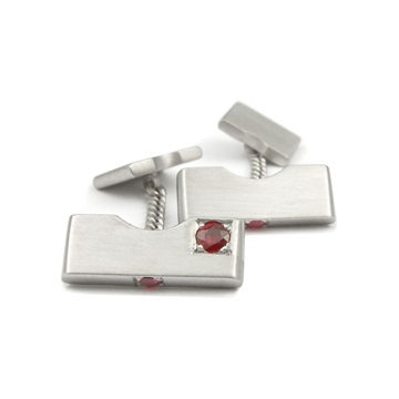 Platinum ruby cufflinks