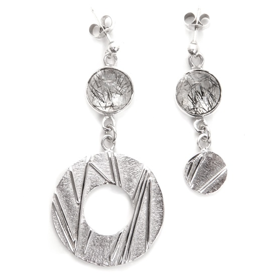 Asymmetric Tourmalinated Quartz Silver Earrings