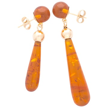 Asymmetric Amber earrings